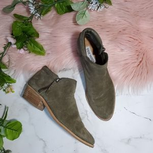 Steve Madden Tobii Olive Green Suede Booties